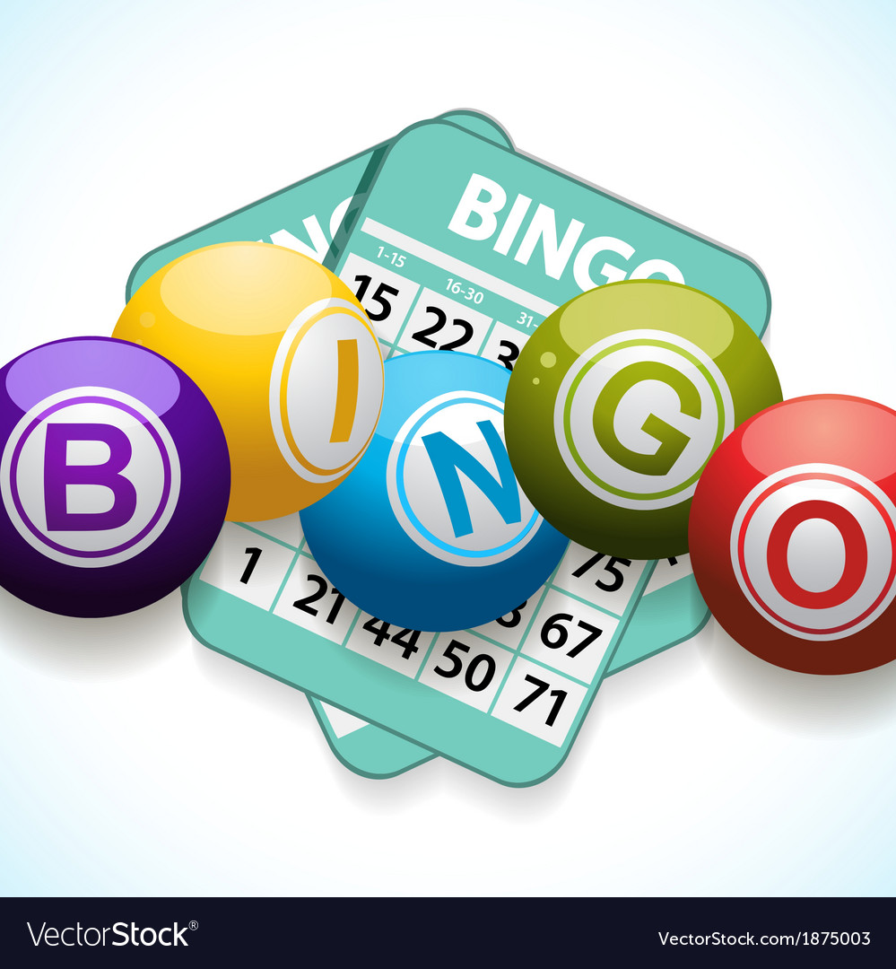 Bingo balls and card on a white background vector