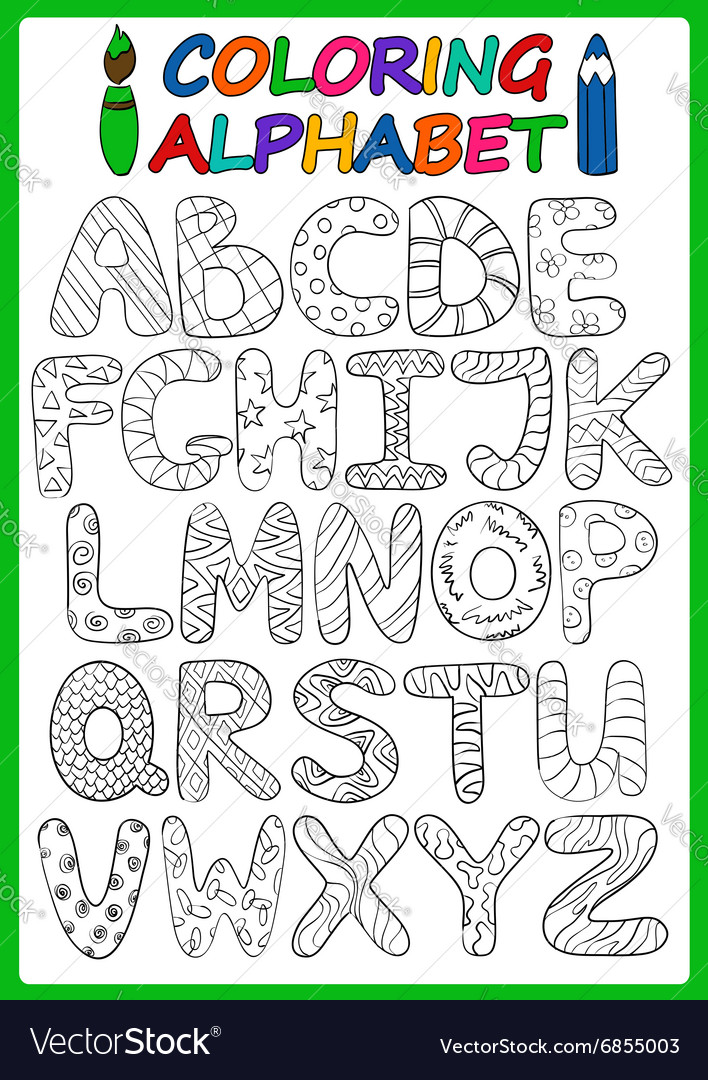 Coloring children alphabet with cartoon capital vector