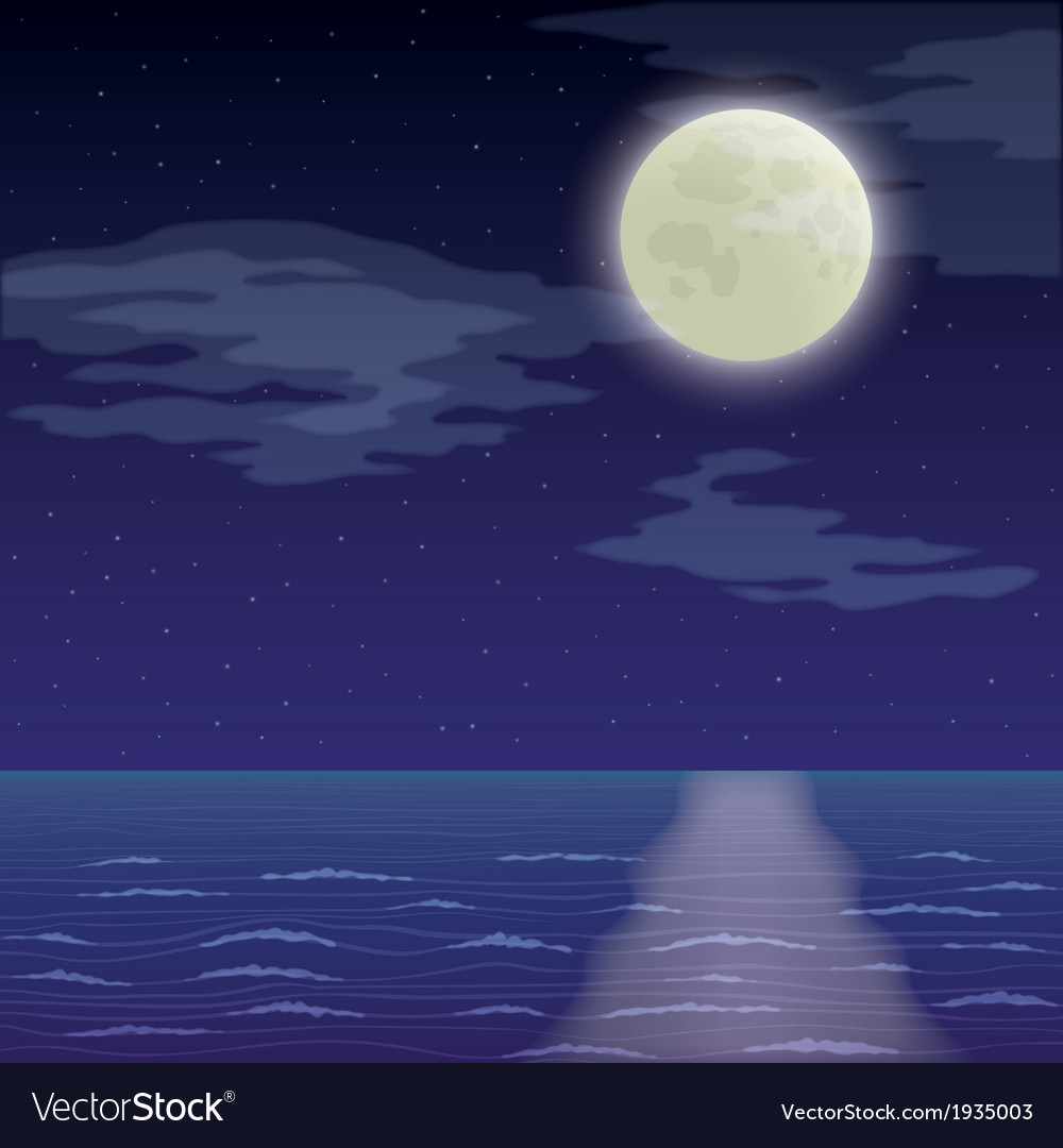 Landscape night sea and sky vector