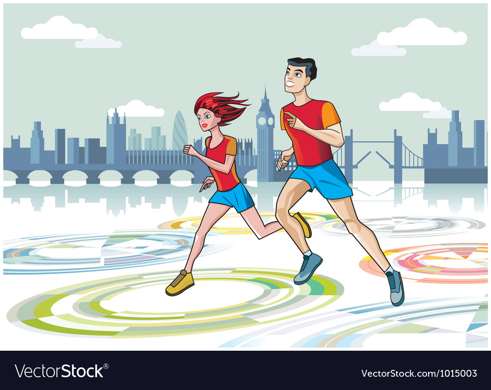 London marathon runners vector