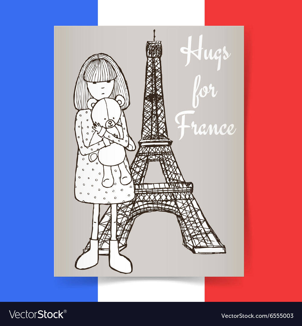 Sketch condolences for france poster vector