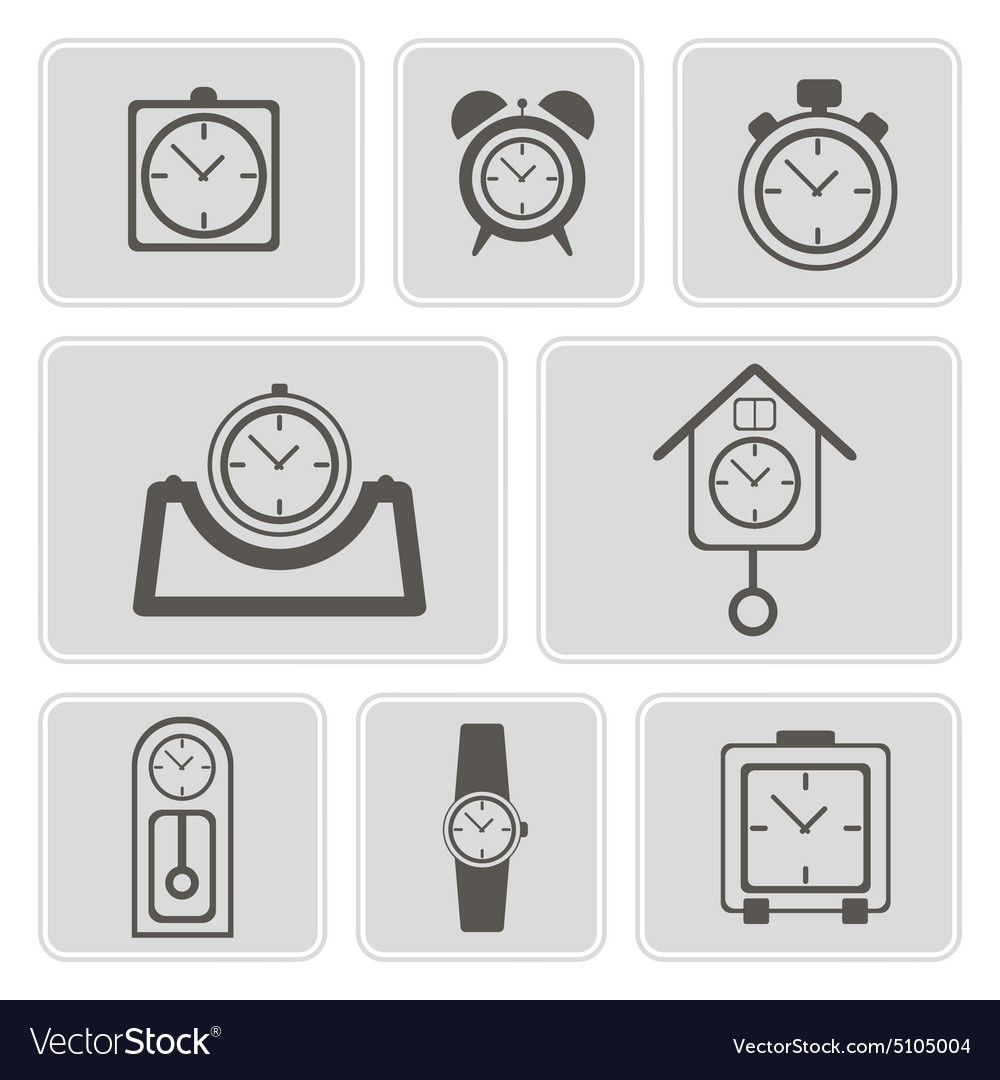 Monochrome icons with different clocks vector