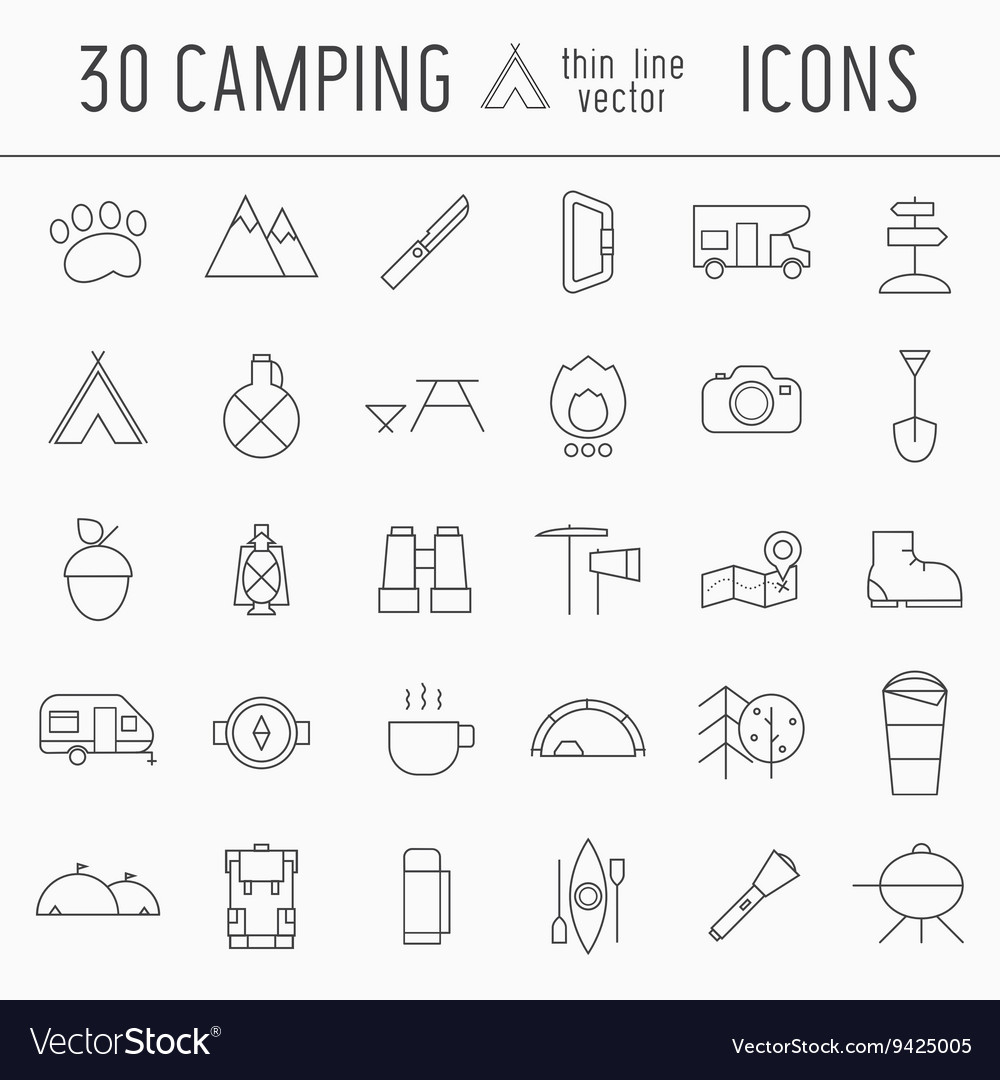 Camping thin line icon set of adventure elements vector