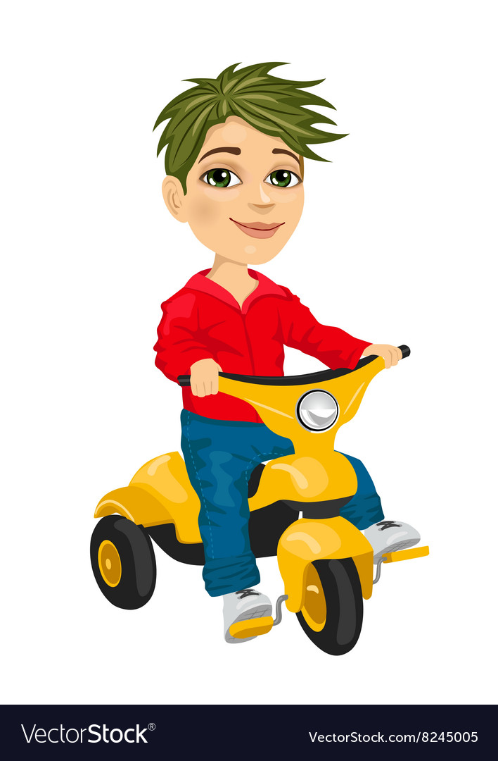 Cute little boy riding a tricycle vector