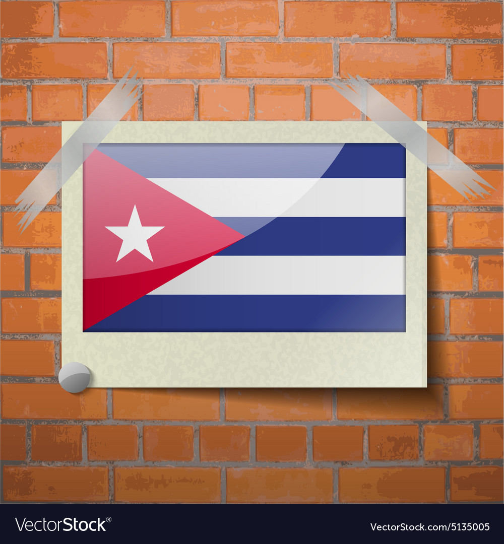 Flags cuba scotch taped to a red brick wall vector