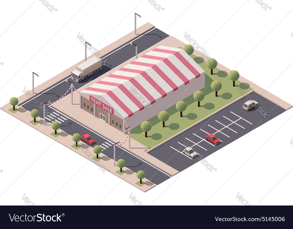 Isometric sale tent store vector