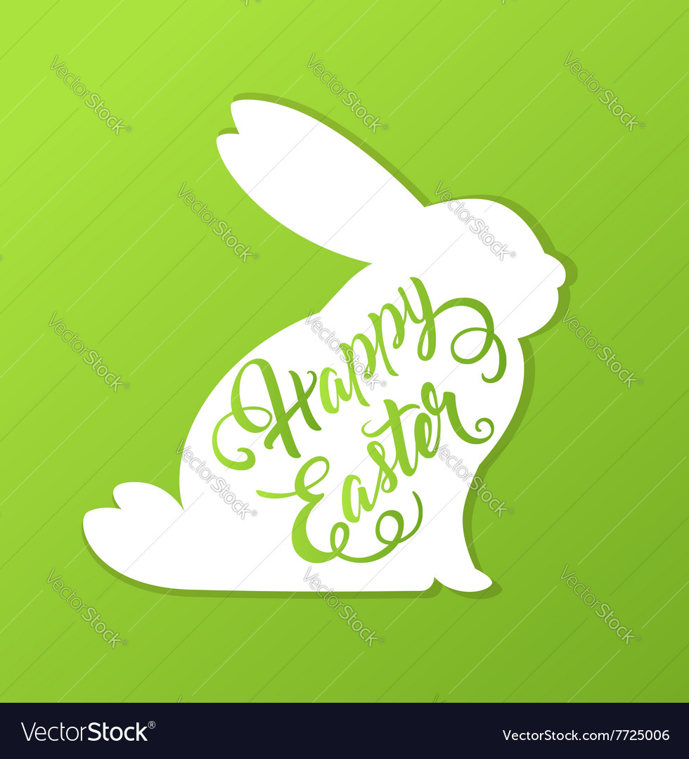Rabbit and greeting inscription vector
