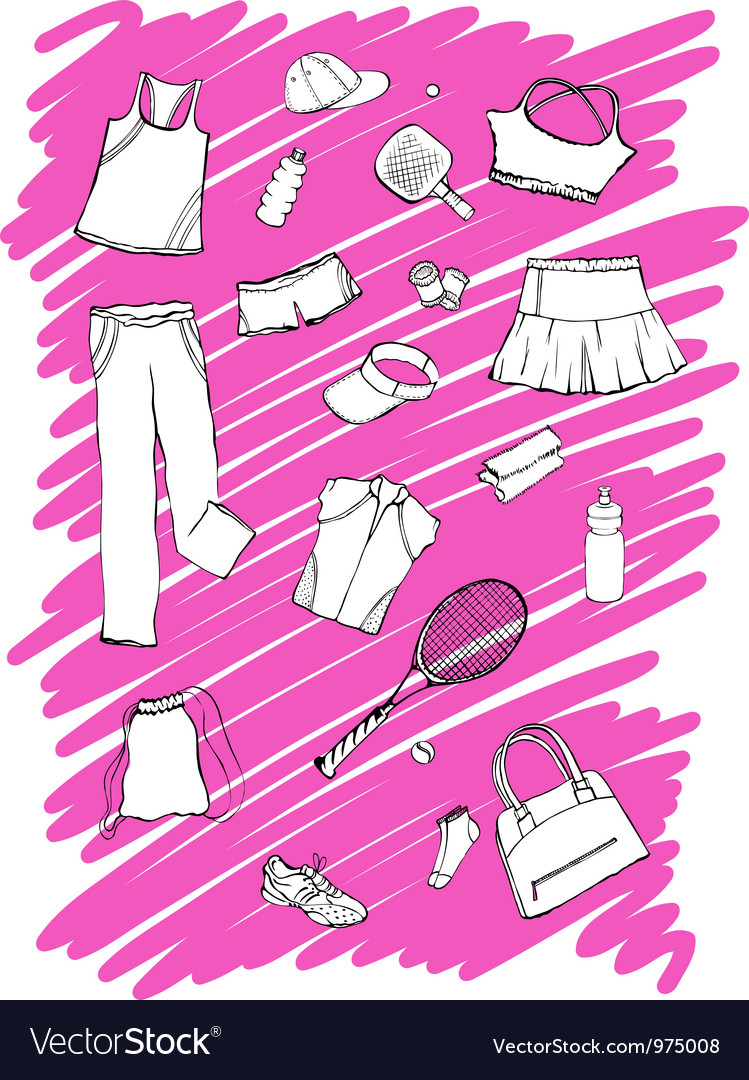 Sport clothes and accessories vector