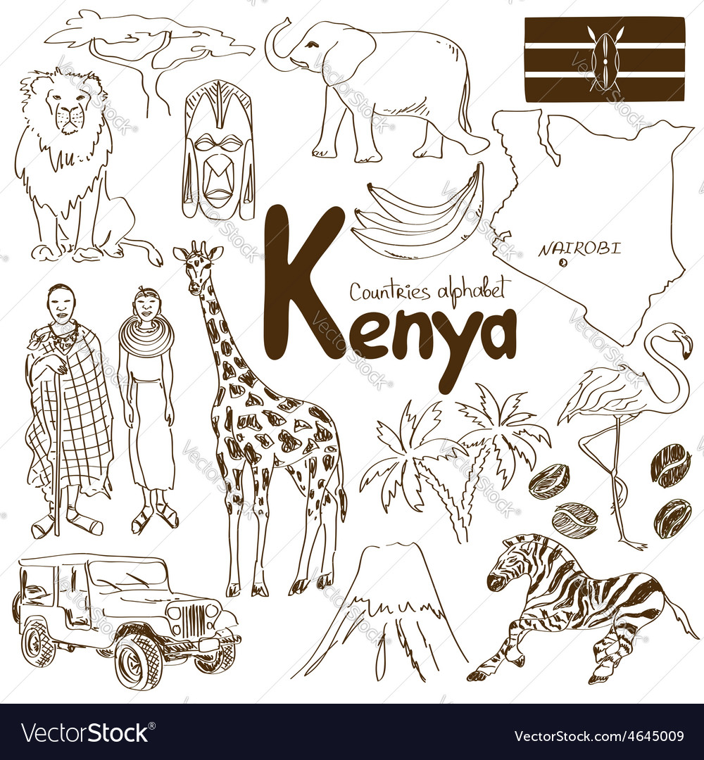 Collection of kenya icons vector