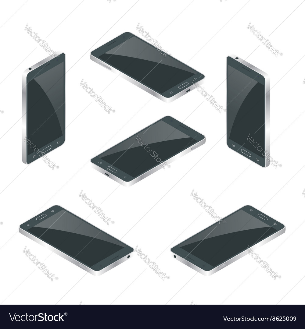 Smart phone isolated mobile phone flat 3d vector