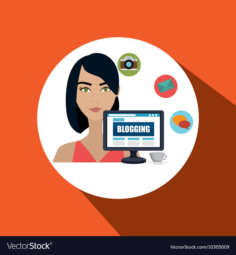 Woman blogs web vector