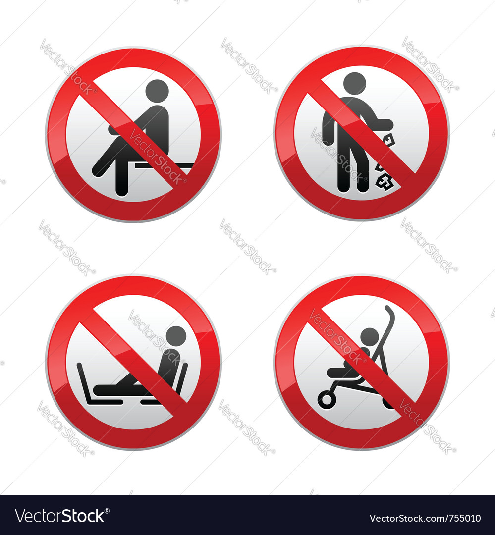 Set prohibited signs  people vector