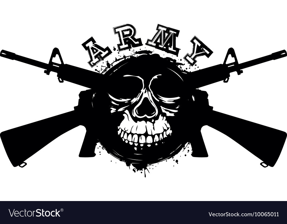 Grunge skull in frame machine gun vector