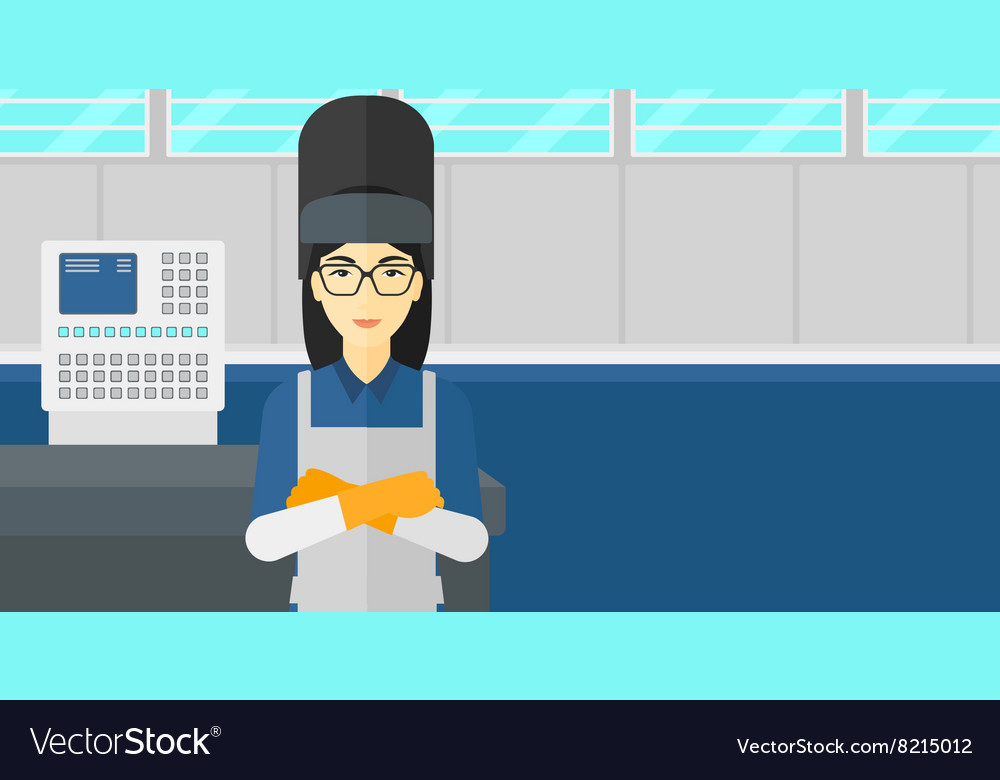 Confident smiling welder vector