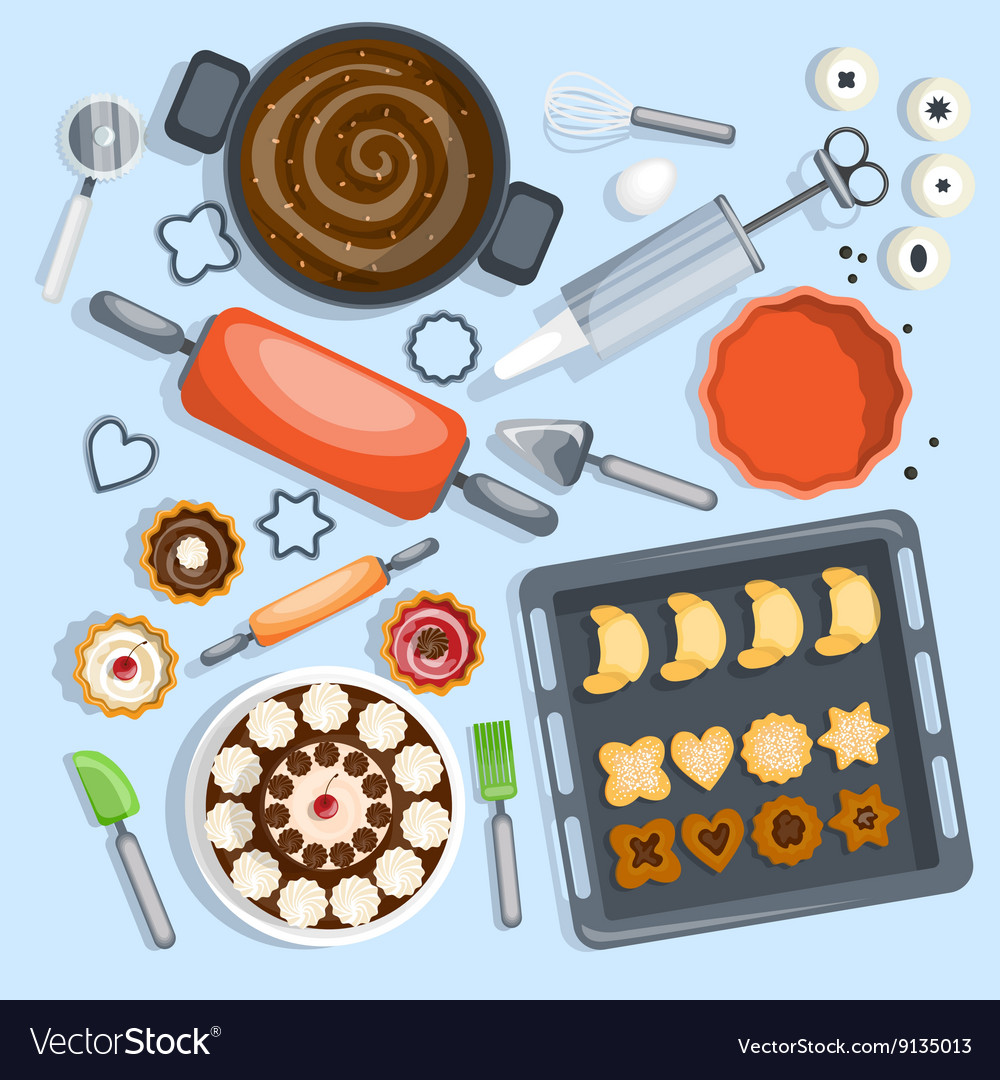 Bakery cartoon set vector