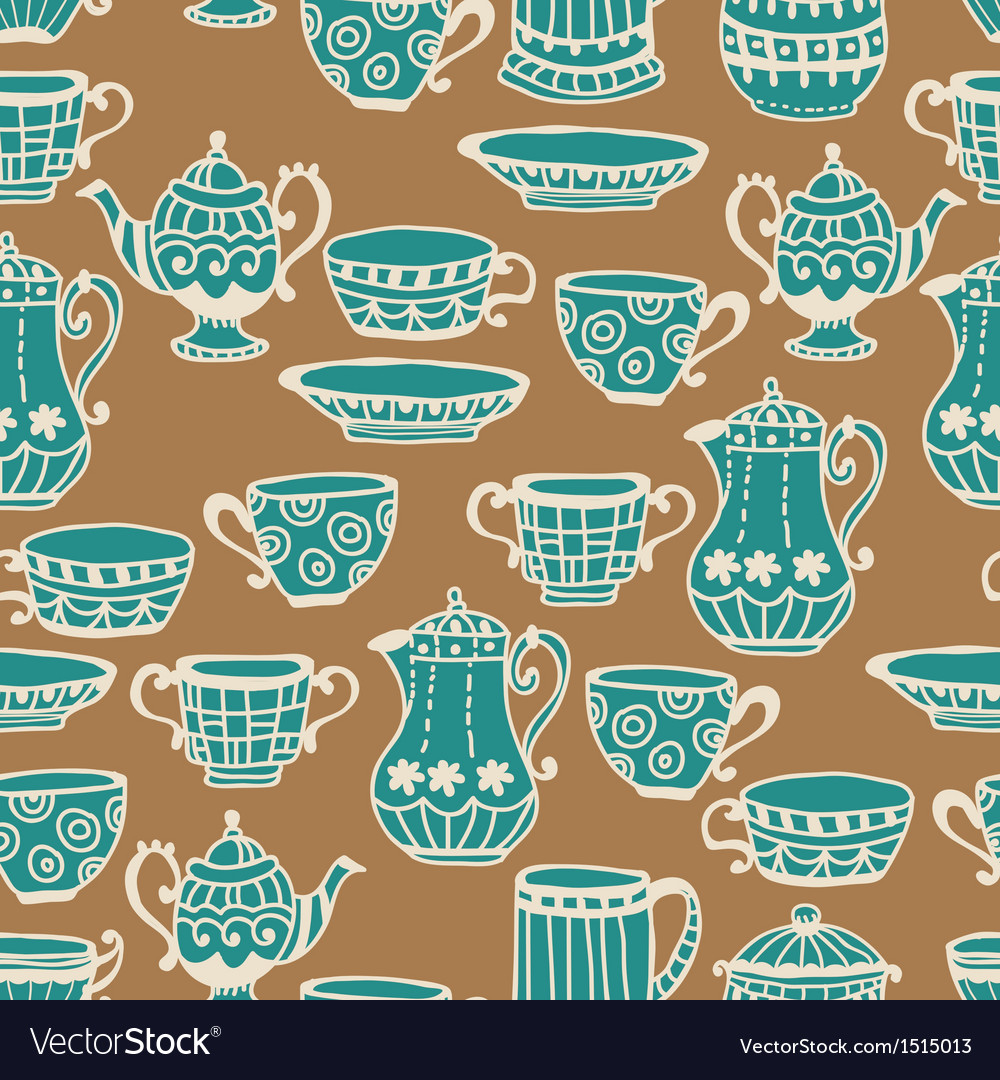 Tea cup seamless background vector