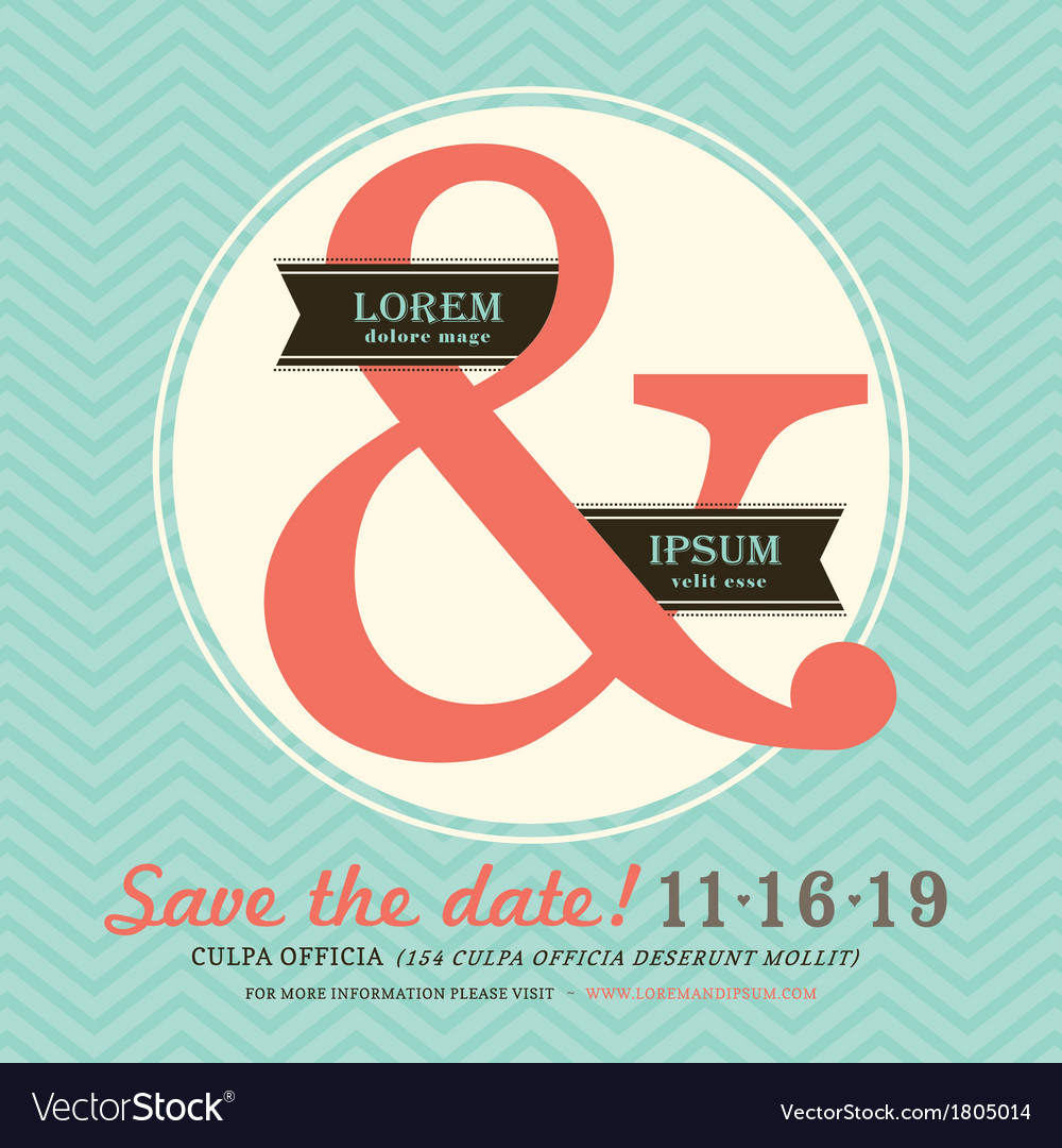 Ampersand wedding invitation chevron background vector