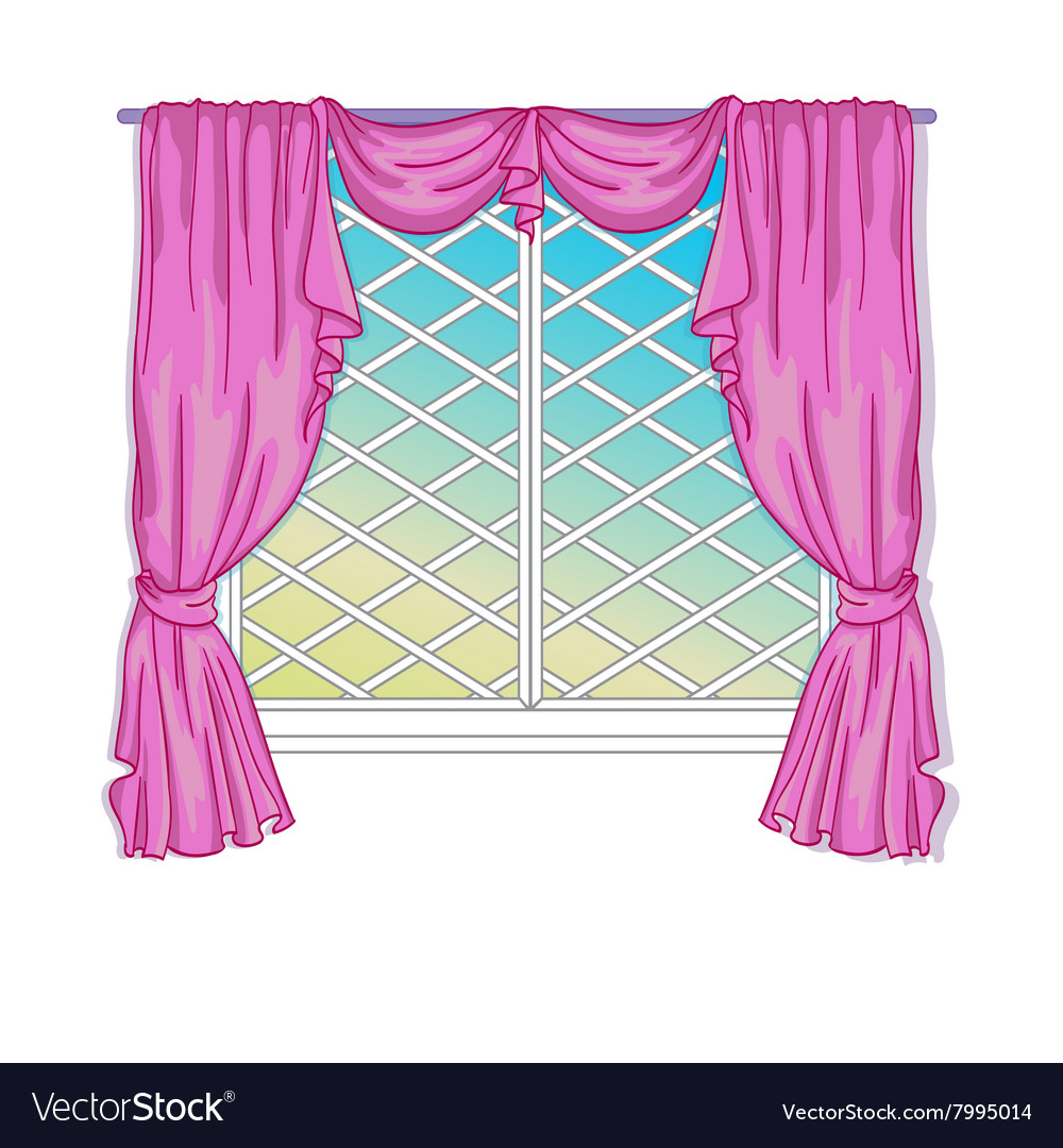 Princess window with curtains vector