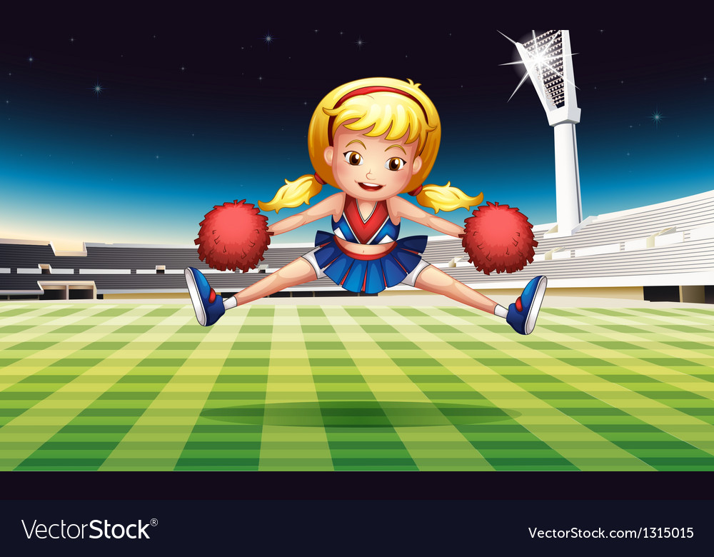 A stadium with an energetic cheerdancer vector