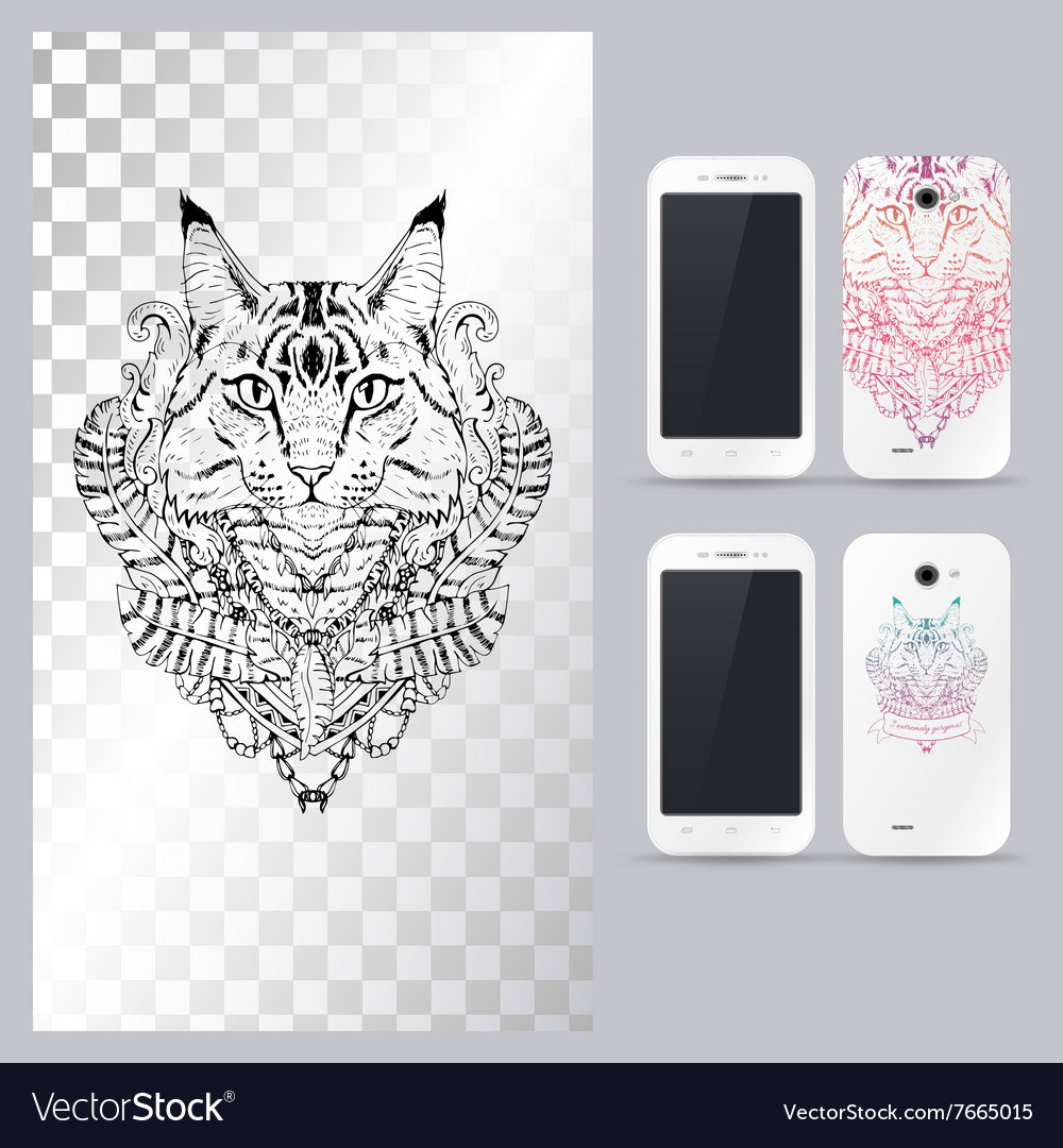 Black and white animal cat head vector