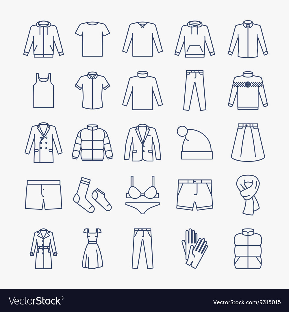 Clothes linear icons vector