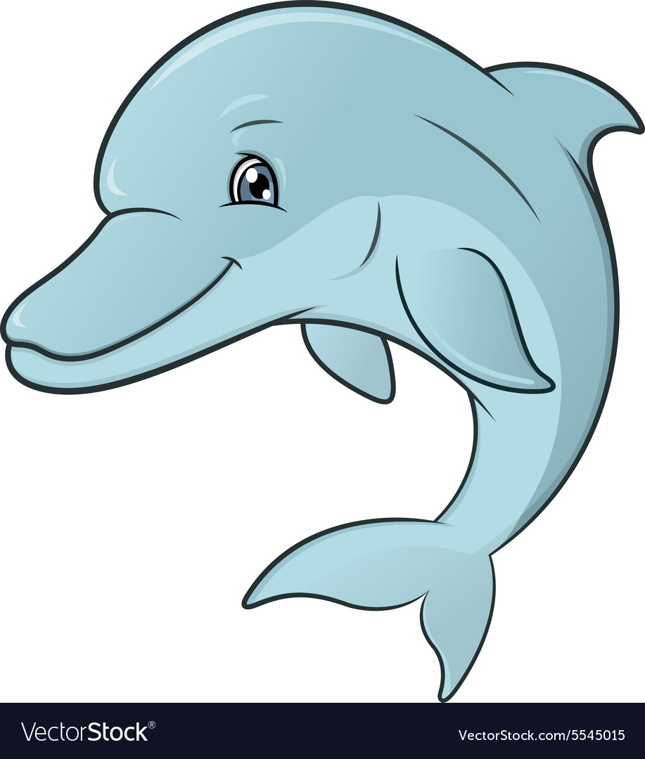 Smiling dolphin jumping 2 vector