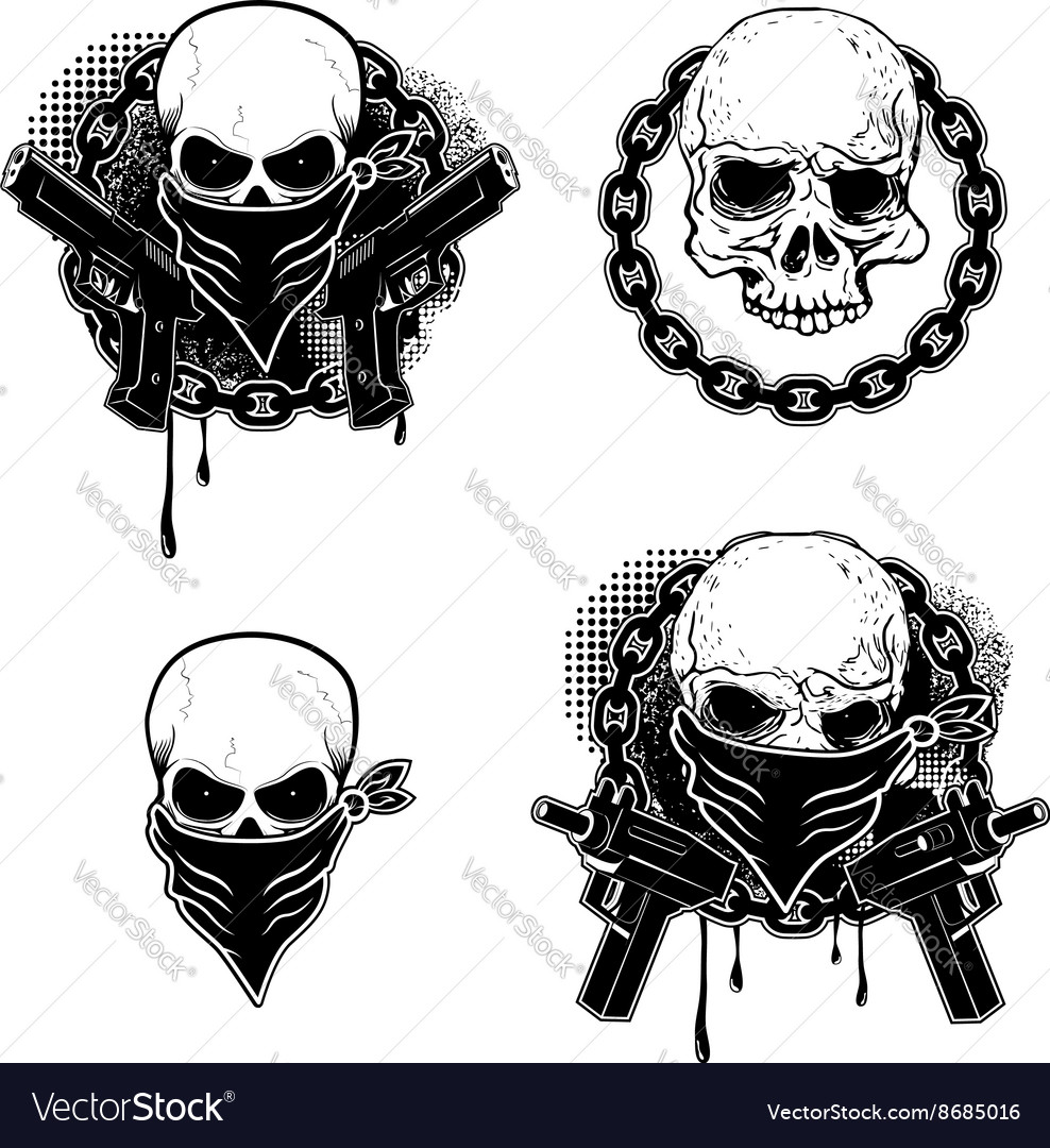 Set of the gangsta skull emblems vector