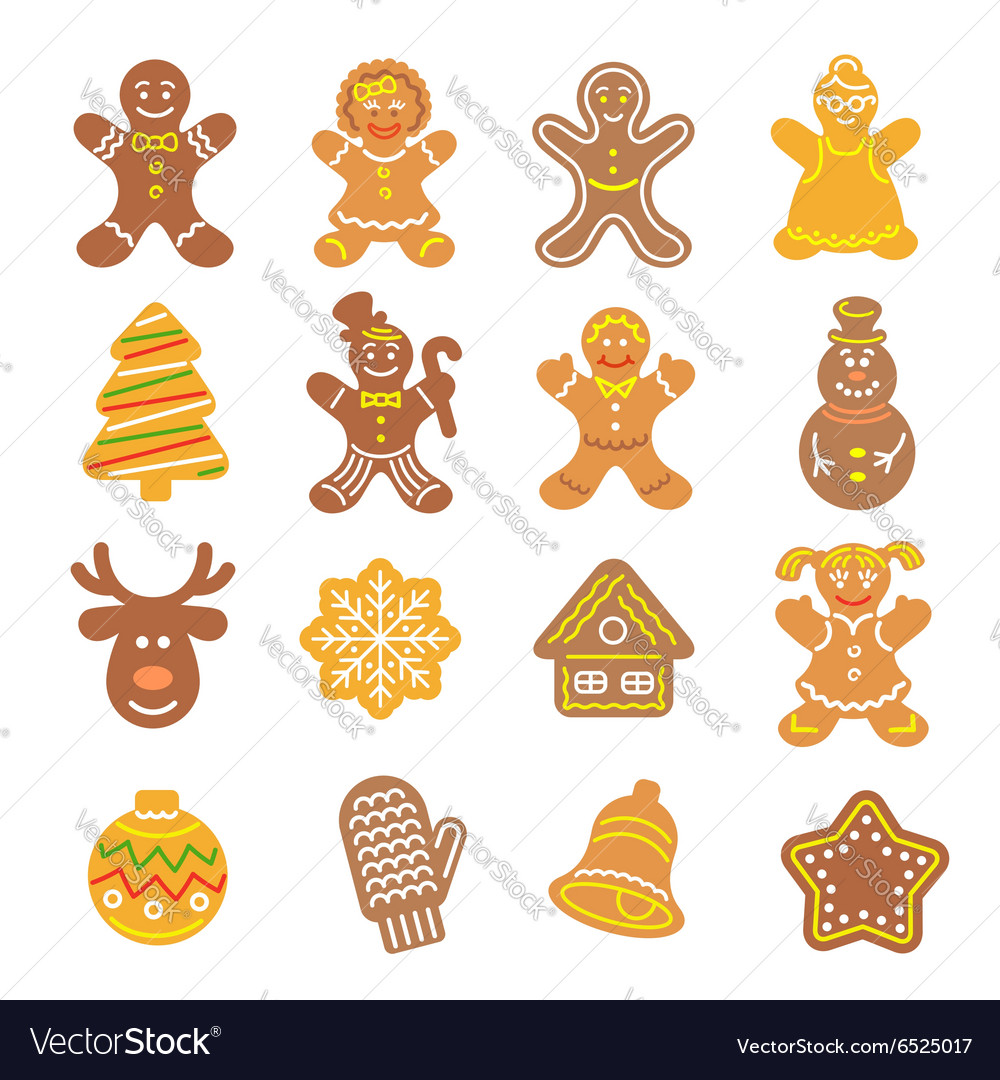 Christmas cookies flat icons set vector