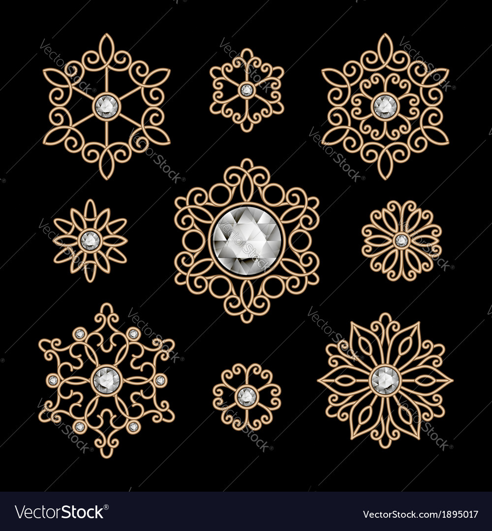 Gold jewelry set vector