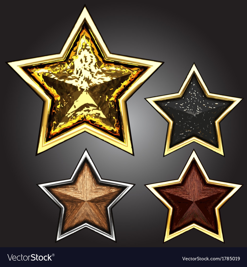 Award star set vector
