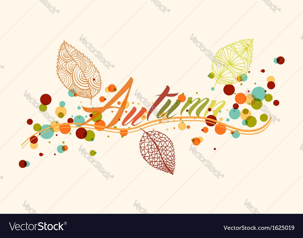 Fall season leaf and bubbles composition vector