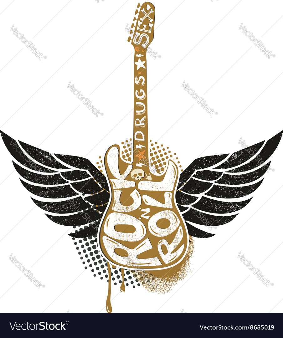 Guitar with wings on grunge background vector