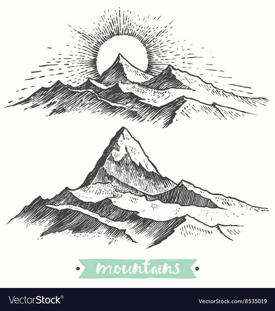 Sketch sunrise mountains engraving drawn vector