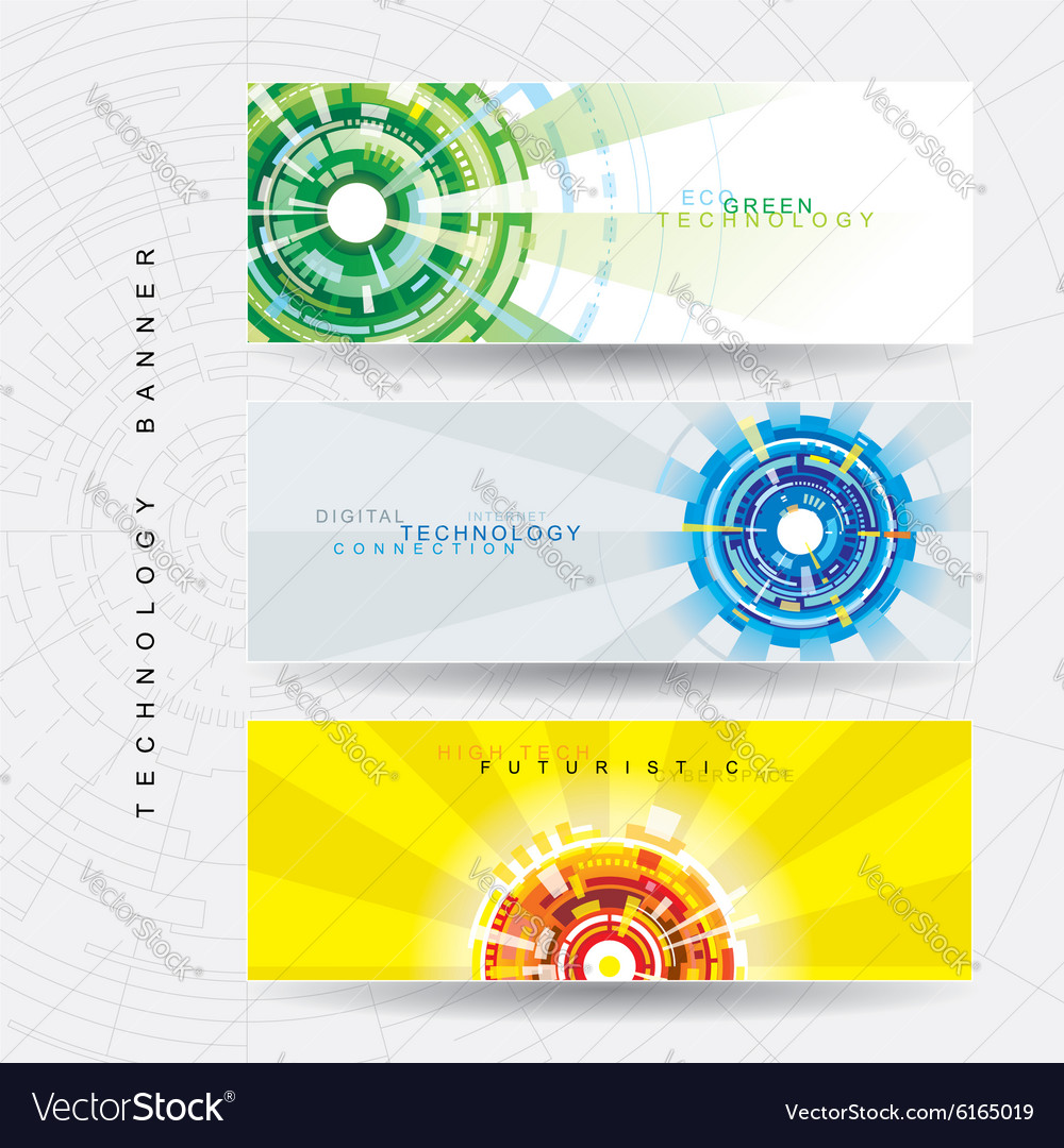 Tech web banner vector