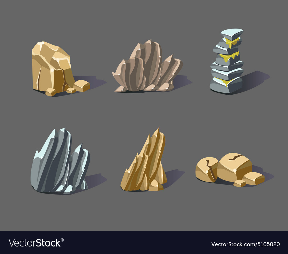 Cartoon stones and minerals vector