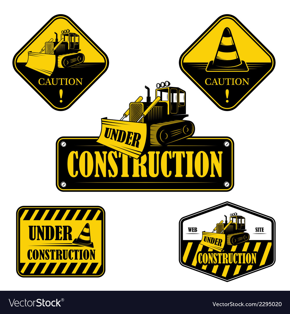 Set of under construction emblems labels vector