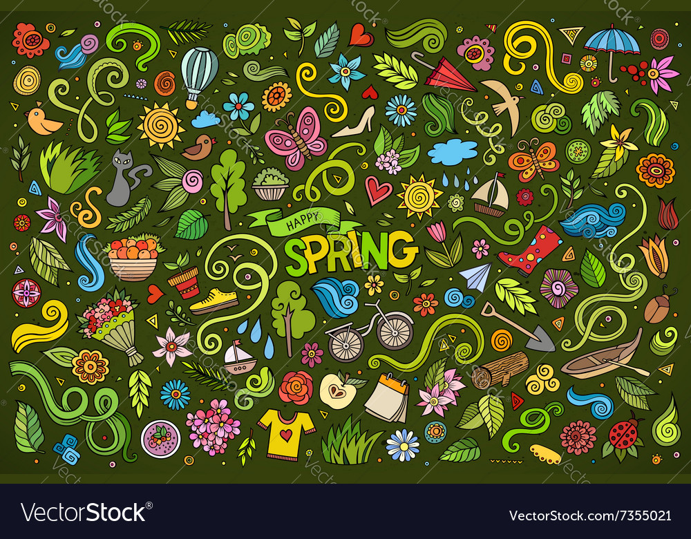 Colorful art doodle cartoon set of objects vector