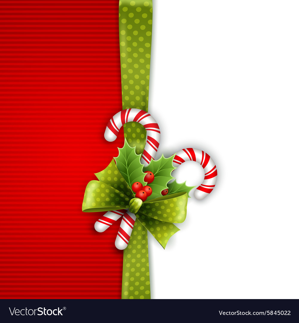Christmas decoration with holly leaves and candy vector