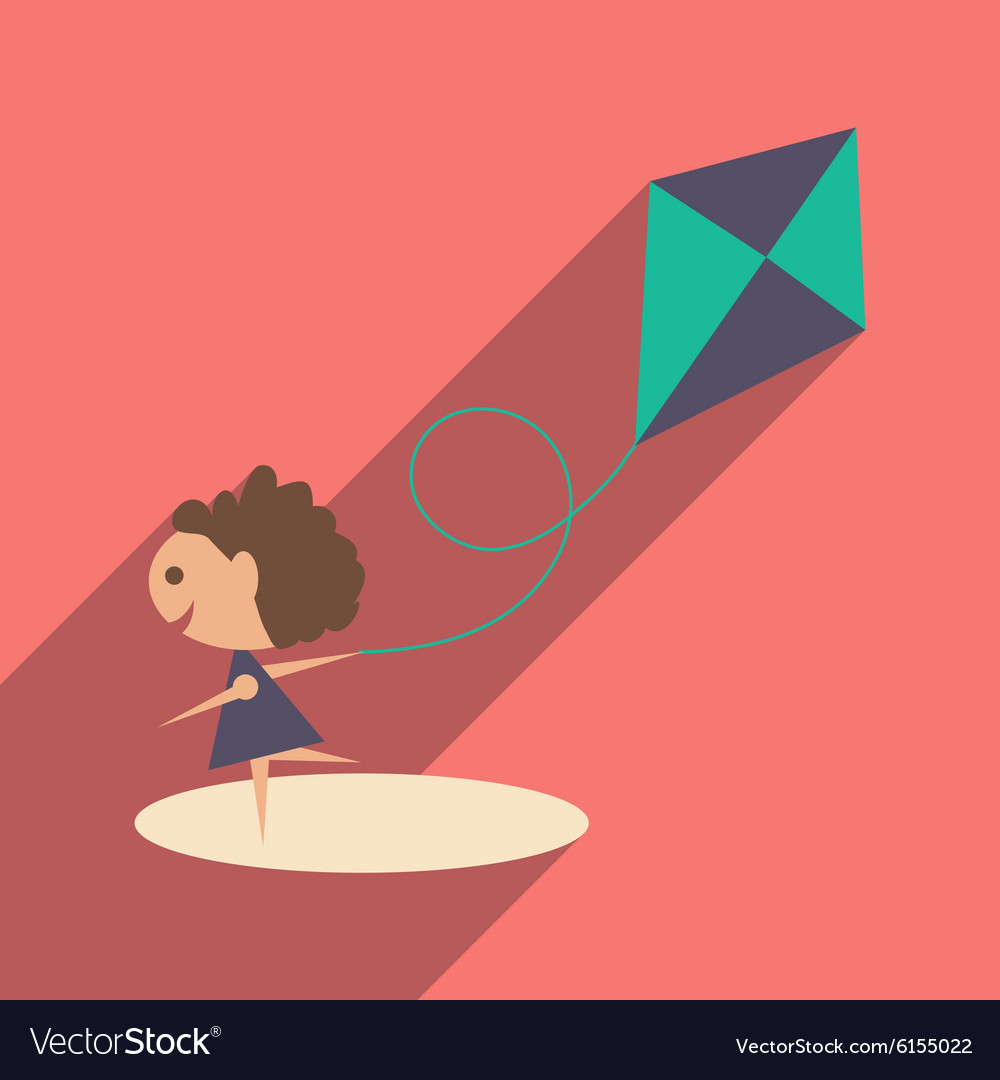 Flat with shadow icon and mobile application girl vector