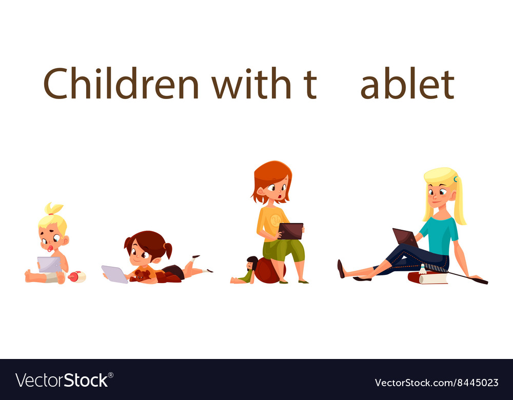 Children play in the smartphone or tablet vector