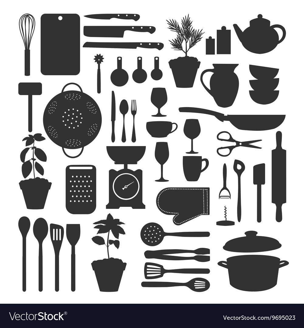 Kitchen tool set isolated vector