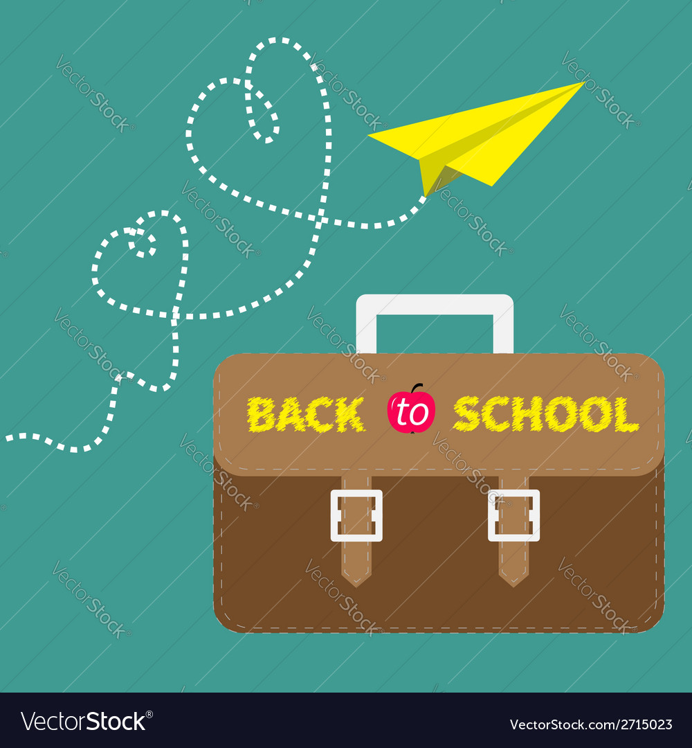 Schoolbag briefcase and yellow paperplane dash vector