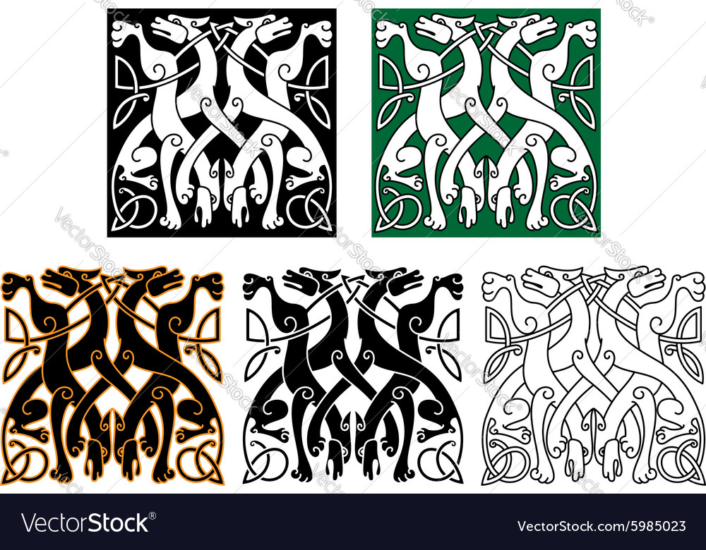 Vintage ornament with celtic wolves vector