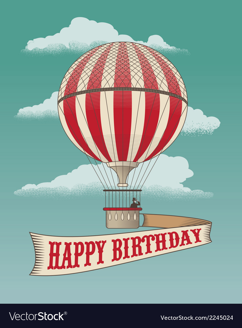 Birthday greeting card  air balloon vector