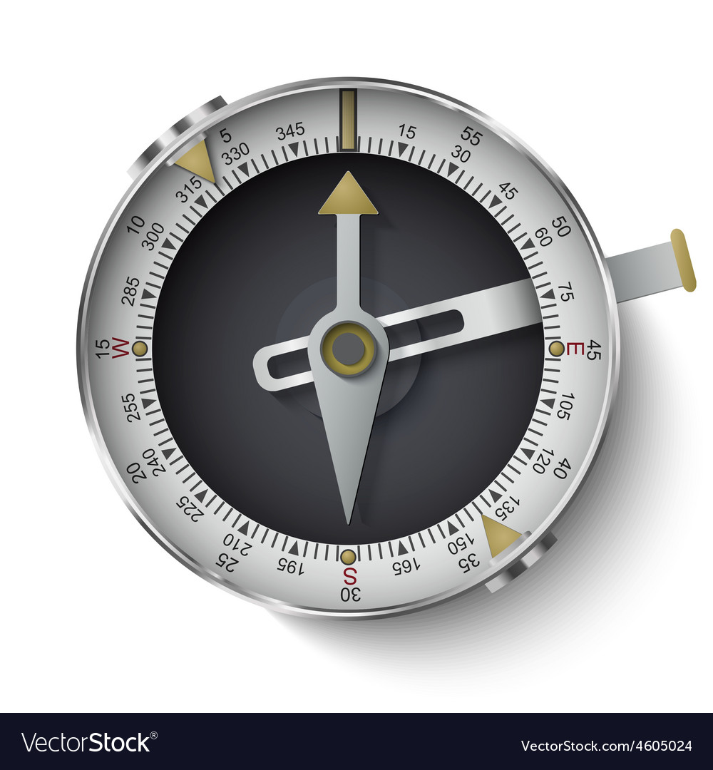 Classic compass with long phosphor isolated on whi vector