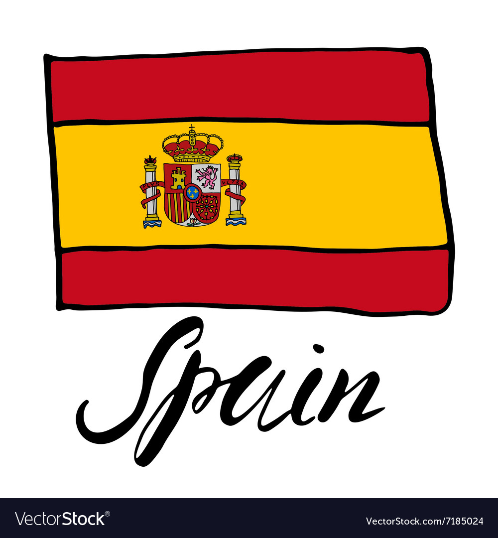 Hand drawn sketch flag of spain vector