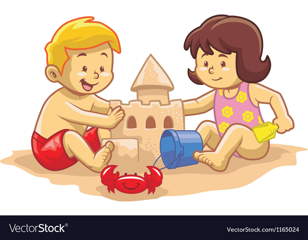 Kids build sandcastle vector