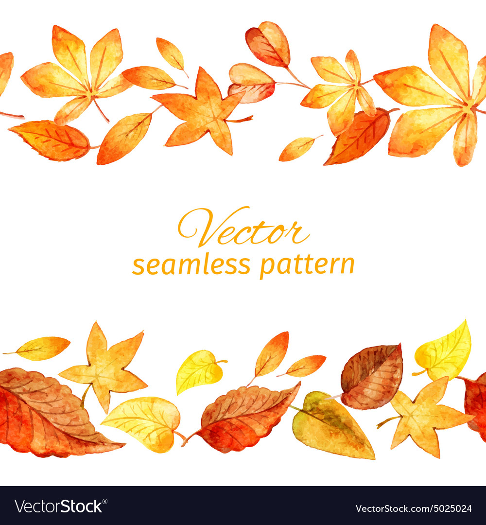 Seamless pattern of autumn leaves two lanes vector