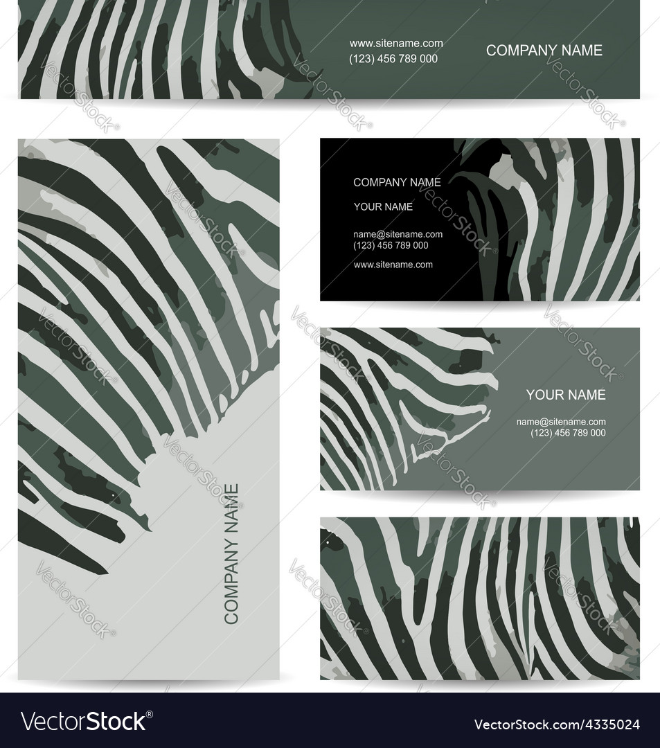 Set of abstract creative business cards zebra vector