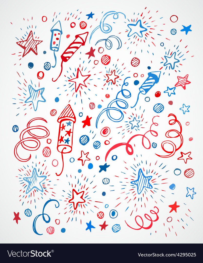 American independence day handdrawn pattern vector